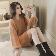 貂绒长袖 女中长款 女装 2018年秋冬新款 毛针织衫 海马毛毛衣连衣裙56