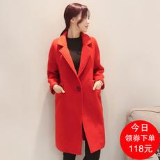 毛呢大衣外套女中长款加厚2017冬天大红色结婚敬酒服羊毛呢子大衣