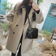 流行赫本风韩版 毛呢外套女大衣中长款 2018新款 秋冬季呢子加厚学生