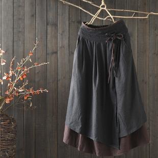 西缺原创 复古做旧 宽松假两件棉麻半身裙女早春新款高腰中长裙子