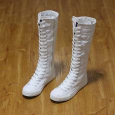 2016新款远步帆布鞋韩版高帮拉链长筒靴子舞台演出靴帆布靴女包邮