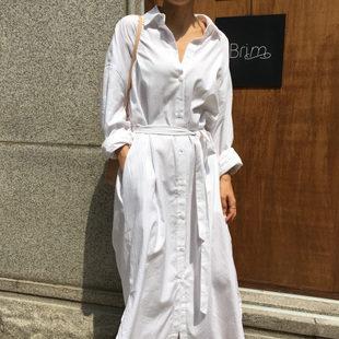 衬衣女2018新款长袖白色棉麻衬衫宽松系带连衣裙ins超火的白衬衫