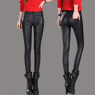 Women Leather pants high waist wear leggings pant slim jeans