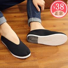 中国风老北京布鞋男款手工千层底布底休闲圆口老头鞋单鞋太极复古