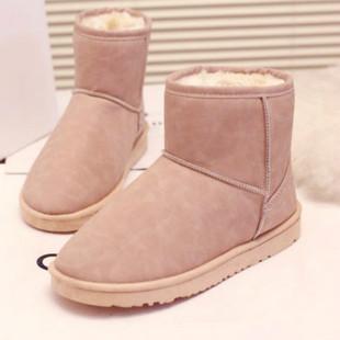 冬季韩版雪地靴女短筒防水防滑短靴女鞋学生加绒加厚平底保暖棉鞋