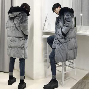 韩国中长款连帽棉衣大毛领棉服冬季加厚金丝绒棉袄情侣面包服外套