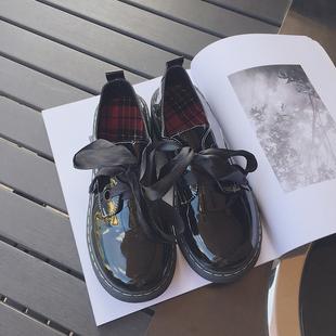 2018韩国圆头系带低帮马丁鞋女日系复古学生原宿厚底大头小皮鞋潮