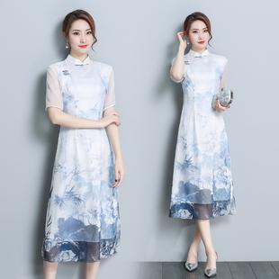 2018新款复古改良版旗袍裙夏中国风短袖长款端庄大气修身连衣裙女