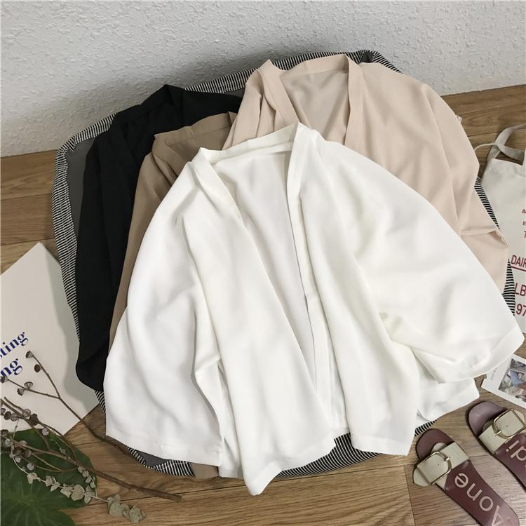 和服式夏季薄款麻纱防晒衫外套女 百搭纯色短款开衫小披肩图片