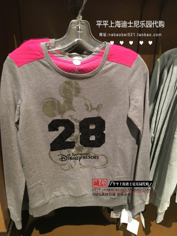 米奇女士卫衣套头28亮片灰色休闲春秋装衣上海迪士尼乐园国内代购图片