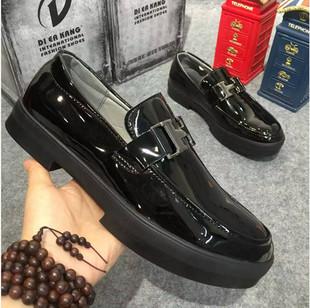 亮面豆豆鞋男士秋季韩版休闲小皮鞋发型师漆皮男鞋英伦厚底潮鞋子
