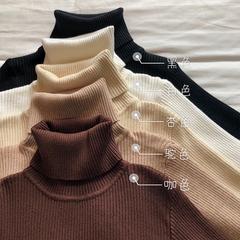 春装新款chic纯色修身显瘦基础百搭针织衫女装经典高领长袖打底衫