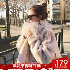 【24小时内发货】chic大毛领皮毛一体羊羔毛外套女冬羊羔绒大衣潮