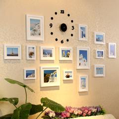 照片墙 实木相片墙15框带挂钟时尚相框墙 组合创意 包邮 送无痕胶
