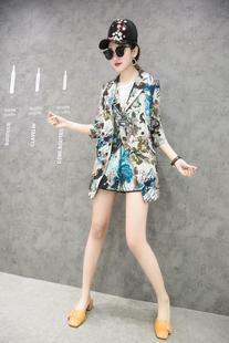 欧洲站2018欧货夏季新款中国风复古花色棉麻长西服女上衣洋气外套