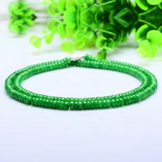 正品缅甸天然老坑a货阳绿翡翠项链男女款算盘珠玉珠项链翡翠手链