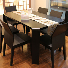 住宅家具餐台 简约餐桌椅组合现代守酒ば 型家用饭桌子6人时尚