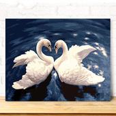 饰画客厅天鹅伴侣爱意 diy数字油画自己填色油彩家居客厅装