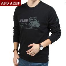 AFS JEEP长袖T恤男士秋季运动大码宽松圆领纯棉印花套头卫衣男装