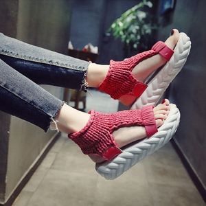 凉鞋女夏季厚底松糕鞋韩版2018新款露趾罗马鞋百搭舒适毛线女鞋子果冻鞋