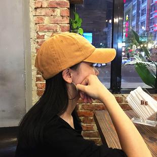 【漂】水洗做旧纯棉芒果黄棒球帽百搭韩版男女情侣鸭舌帽子四季款