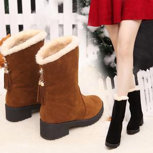 韩版平底坡跟短靴春秋绒面学生单靴内增高中筒流苏靴冬季棉靴女鞋女靴