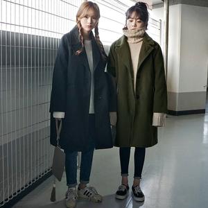 2017新款韩版中长款毛呢外套女冬季韩国冬装学生茧型加厚呢子大衣毛呢大衣