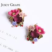 Juicy Grape珐琅花朵耳环夸张森系芍药花红宝石绿叶耳钉 新款耳饰