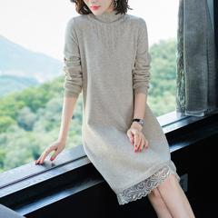打底毛衣女2018新款宽松韩版中长款针织毛衣裙过膝高领蕾丝连衣裙