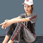 金丝绒休闲运动套装女时尚两件套2018夏季新款韩版女士短袖运动服