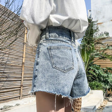 Panya Jeans Shorts Female Summer 2019 New Style Outside wearing Korean version of high waist, slim and loose A-shaped wide-legged hot pants