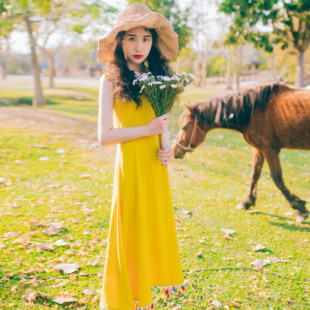 辰丞夏季新款棉麻小清新森女系流苏泰国度假吊带黄色高腰连衣裙长