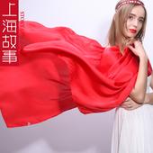上海故事旗舰中国红女士丝巾2019好新款长款大红色百搭围巾春秋薄
