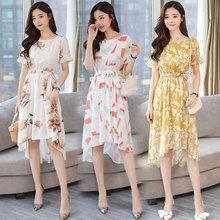 印花不规则裙中长款 系带连衣裙2018夏装 44女装 气质淑女喇叭袖