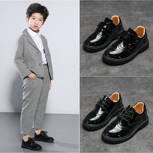 Children's Shoes Boys'Leather Shoes Black Soft Bottom New Children's Shoes