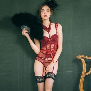 女塑身衣性感复古蕾丝网纱骨衣可卸式挂脖式钢圈束身收腰睡衣套装