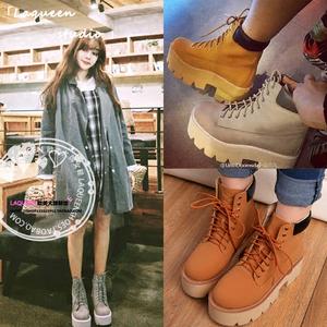 韩版爆款百搭圆头厚底松糕系带绑带高跟朋克粗跟马丁靴潮短靴女鞋雪地靴