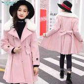 女大童毛呢大衣秋冬装2018新款韩版修身长款毛呢外套12岁大童外套