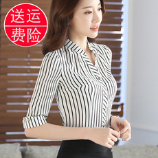 春装新款职业装衬衫女短袖条纹雪纺衫夏季韩范修身显瘦百搭工作服
