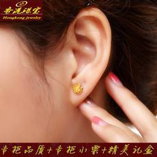新款黄金耳钉 专柜品质 24K纯金耳环 磨砂珠耳饰 999足金女款包邮