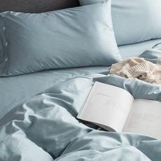 春夏贡缎床品套件淡蓝色被套枕套床单清凉纯棉1.8m双人家纺四件套