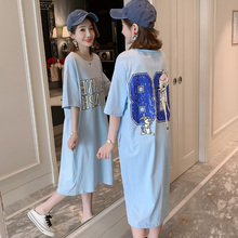 Cartoon printed short-sleeved T-shirt skirt for pregnant women's summer dress Long loose cotton knee-length dress Summer skirt