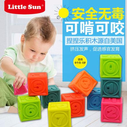 婴幼儿认知捏捏乐数字识字认字硅胶软积木宝宝早教玩具可啃咬玩具