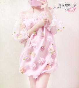 夏天性感yy网络美女主播可爱花朵欧根纱荷叶边 一字领蓬蓬连衣裙