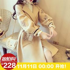 2017韩国名媛气质重工串珠镶钻花朵灯笼袖中长款显瘦毛呢大衣外套