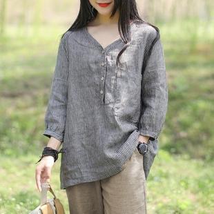 咖咪雨新款文艺复古棉麻T恤女士九分袖大口袋竖条纹宽松套头衫夏