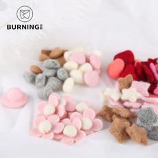 贝影 羊毛毡小花朵爱心 毛绒桃心圣诞花束花盒配件 韩式花艺材料