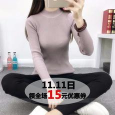 2017秋冬季女装新款纯色加厚打底衫长袖针织衫套头修身白色毛上衣