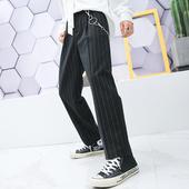 网红同款 子男韩版 青年潮流垂感条纹西装 挂链休闲西裤 pop男装
