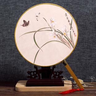 古风团扇中国风手工diy汉服古典舞蹈宫扇空白长柄圆古代古风扇子